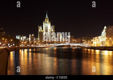 Kotelnicheskaya Embankment, one of Stalin's skyscrapers, Moscow, Russia Stock Photo