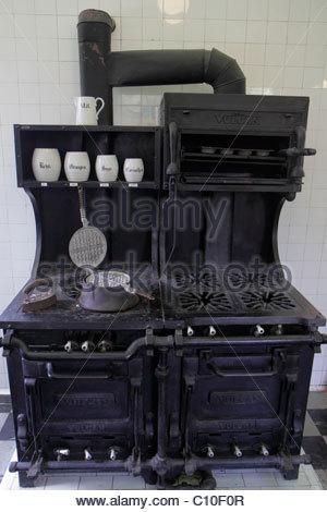 Sarasota Florida John and & Mable Ringling Museum of Art estate Ca d' Zan Mansion kitchen stove oven - Stock Photo