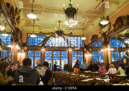 Cafe Majestic, art nouveau masterpiece, Oporto, Portugal - Stock Photo