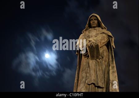Statue of philosopher Giordano Bruno in the center of Campo de Fiori, Rome , Italy - Stock Photo