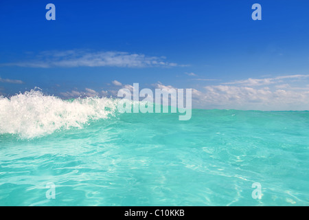 beautiful blue turquoise wave caribbean sea water foam - Stock Photo