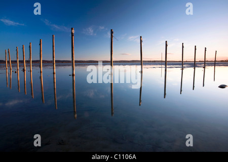 Boat landing in winter on the Swiss lakefront of Lake Constance in Triboltingen, Switzerland, Europe - Stock Photo