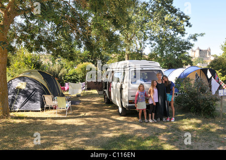 An English mother and her daughters with their camper van on a campsite in Saumur, France - Stock Photo