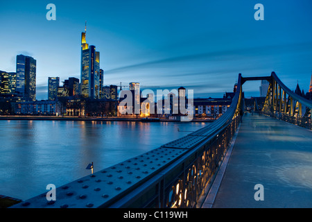 View from the Eiserner Steg bridge over the skyline of Frankfurt, Commerzbank, ECB and Opernturm skyscrapers, Frankfurt, - Stock Photo