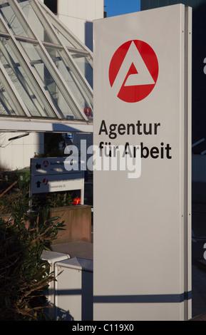 Sign, Agentur fuer Arbeit, Employment Agency, Frankfurt, Hesse, Germany, Europe - Stock Photo