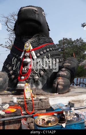 Stone Nandi statue, Chamundi Hill, Mysore, Karnataka, South India, India, South Asia, Asia - Stock Photo