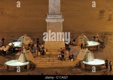 View from the Pincio to the Piazza del Popolo with the foot of the obelisk, Rome, Italy, Europe - Stock Photo