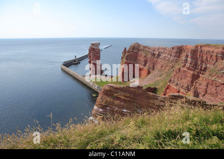 Cliffs and the Lange Anna rock, landmark of Heligoland island, Schleswig-Holstein, Germany, Europe - Stock Photo