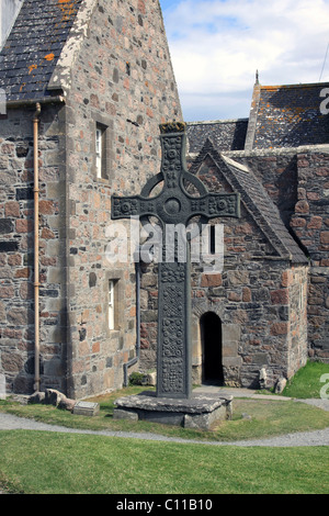 Iona Abbey, St John's Cross, Ionam island, Inner Hebrides, Scotland, United Kingdom, Europe - Stock Photo