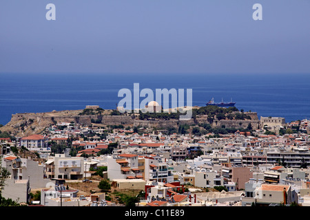 Panoramic view of Rethimno, Rethymno, Venetian Fortezza, fortress in the back, castle, Crete, Greece, Europe - Stock Photo