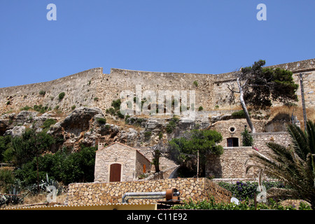 Venetian Fortezza, fortress, castle, Rethymnon, Rethymno, Crete, Greece, Europe - Stock Photo