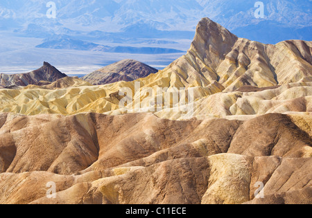 Manly Beacon at Zabriskie Point, Furnace creek, Death Valley National Park, California, USA - Stock Photo
