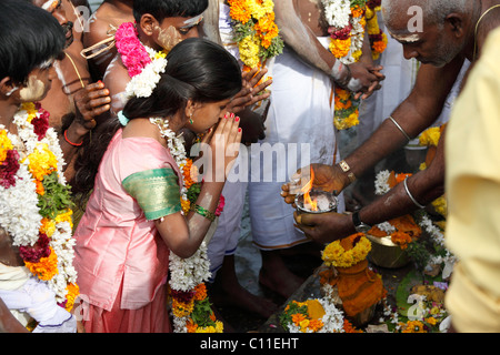 Holy Fire, Thaipusam festival in Tenkasi, Tamil Nadu, Tamilnadu, South India, India, Asia - Stock Photo