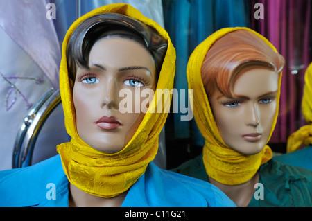 Hijab, Islamic veils for sale in a shop in Shiraz, Fars, Iran, Persia, Asia - Stock Photo