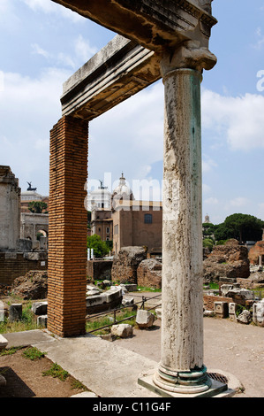 Remains of the pillars at the House of the Vestal Virgins, in the rear the Curia, Forum Romanum or Roman Forum, - Stock Photo