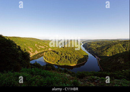 Sinuosity of the river Saar from the viewpoint Cloef near Orscholz, Mettlach, Saarland, Germany, Europe - Stock Photo