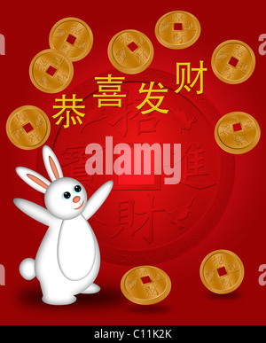 chinese new year 2011 rabbit welcoming prosperity illustration with gold coins stock photo - Chinese New Year 2011