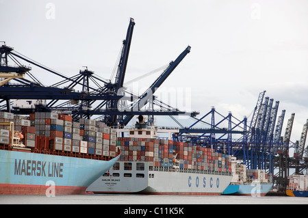 Container ships, UK. - Stock Photo