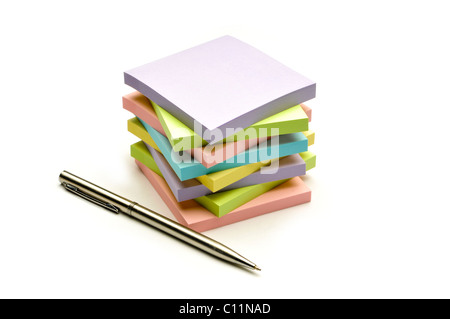stack of colorful note papers - Stock Photo