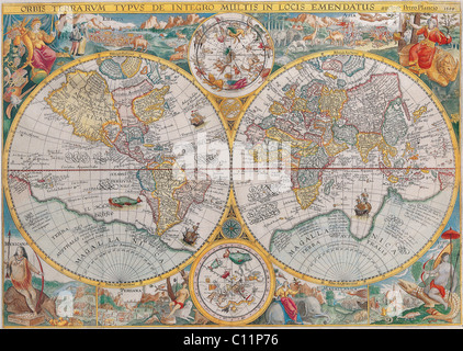 Old map of the world - Stock Photo