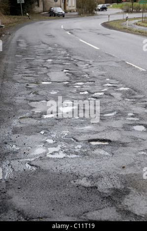 Road damage on the L286, North Rhine-Westphalia, Germany, Europe - Stock Photo