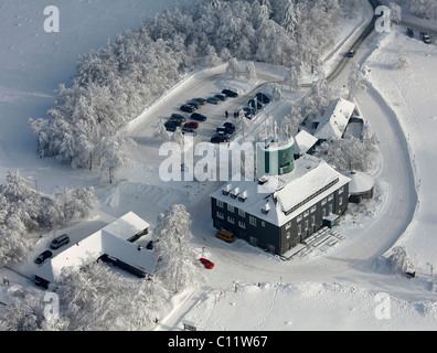 Aerial view, Mt. Kahler Asten weather station, snow, winter, Winterberg, North Rhine-Westphalia, Germany, Europe - Stock Photo