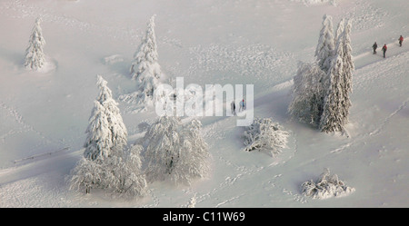 Aerial view, Mt. Kahler Asten, walkers, snow, winter, Winterberg, North Rhine-Westphalia, Germany, Europe - Stock Photo