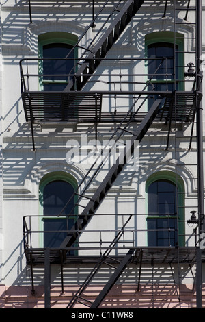 Typical fire stairs at a house in Portland, Oregon, USA - Stock Photo