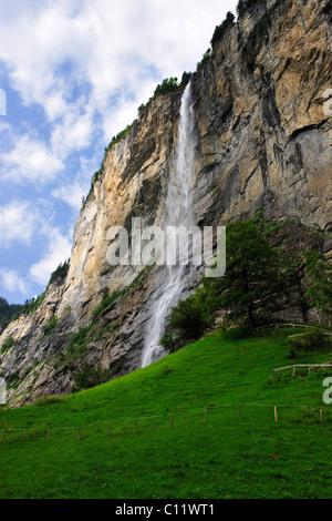 Staubach waterfall near Interlaken, canton of Bern, Switzerland, Europe - Stock Photo