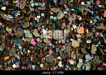 Padlocks and hearts with love letters on Mt. Namsan, South Korea, Asia - Stock Photo