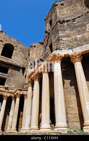 Roman theater in Bosra, Syria, Asia - Stock Photo