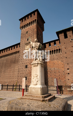 Fortezza Sforzesco castle, Milan, Lombardy, Italy, Europe - Stock Photo