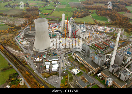 Aerial, cooling tower, THTR, former nuclear power plant, RWE Westfalen power plant, coal power plant, construction - Stock Photo