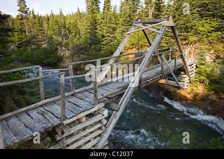 Wooden foot bridge, canyon, Chilkoot Trail, Chilkoot Pass, Yukon Territory, British Columbia, B. C., Canada - Stock Photo