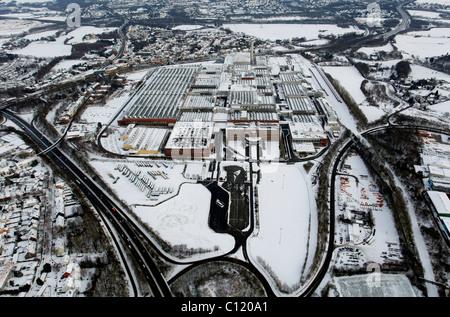 Aerial view, snow, inner-city highway, Zafirawerk plant, Astrawerk factory, Opel GM General Motors Werk I plant, - Stock Photo