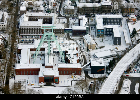 Aerial view, mine, visitor mine, shaft tower, Bergbaumuseum mining museum, Bochum, Ruhrgebiet region, North Rhine - Stock Photo