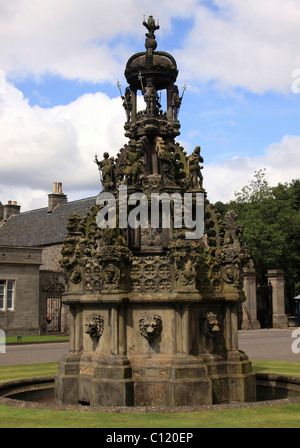 Copy of a fountain in Linlithgow Palace, Holyrood Palace, seat of the British Queen in Scotland, Edinburgh, Scotland, - Stock Photo