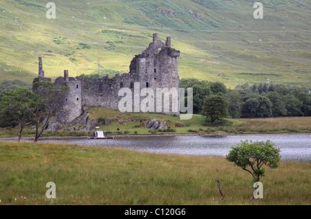 Ruins of Kilchurn Castle on Loch Awe, Scotland, United Kingdom, Europe - Stock Photo