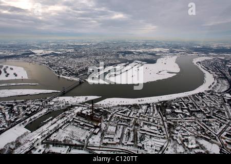 Aerial photo, inland harbour, Duisport, Duisburg Harbor, Ruhrort, Duisburg, Ruhr, North Rhine-Westphalia, Germany, - Stock Photo