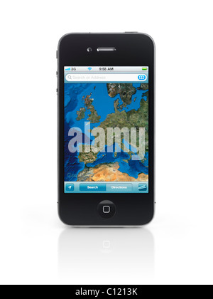 Apple iPhone 4 smartphone with Google maps showing Europe on its display isolated on white background. High quality - Stock Photo