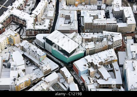 Aerial view, Konzerthaus Dortmund opera house in the snow, Brueckstrasse street, Dortmund, Ruhrgebiet region - Stock Photo