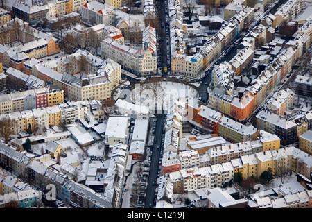 Aerial view, Borsigplatz square in the snow, Dortmund, Ruhrgebiet region, North Rhine-Westphalia, Germany, Europe - Stock Photo