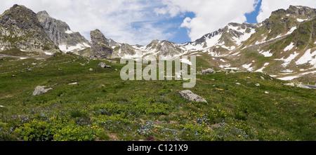 View of Pennine Alps, Valais Alps from Great St Bernard Pass, Col du Grand-Saint-Bernard, Colle del Gran San Bernardo - Stock Photo