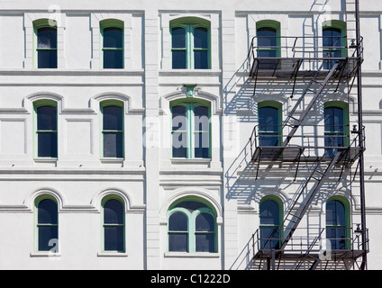 Typical fire escape stairs at a house in Portland, Oregon, USA - Stock Photo