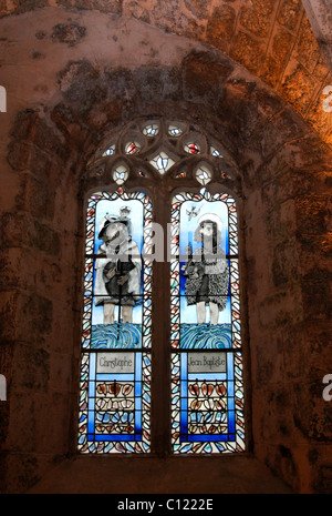 Stained glass windows of the Church of Saint-Christophe, La Couvertoirade, Aveyron, France, Europe - Stock Photo