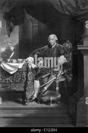 Vintage portrait print of American statesman Henry Laurens (1724 - 1792) - President of the Second Continental Congress - Stock Photo