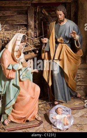 crib's figures: Holy family - Stock Photo