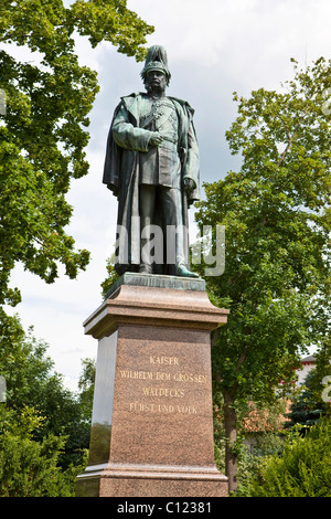 Statue of Emperor Wilhelm I., Waldeck at the Baroque Residenzschloss royal palace, Bad Arolsen, Hesse, Germany, - Stock Photo