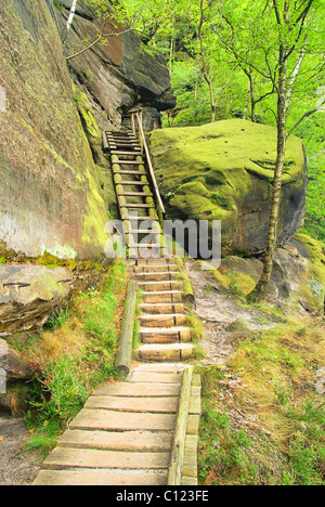 Affensteinweg - path through mountains Affensteine 03 - Stock Photo