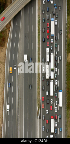 Aerial photo, motorway bridge, traffic jam, Kamen, Ruhr Area, North Rhine-Westphalia, Germany, Europe - Stock Photo